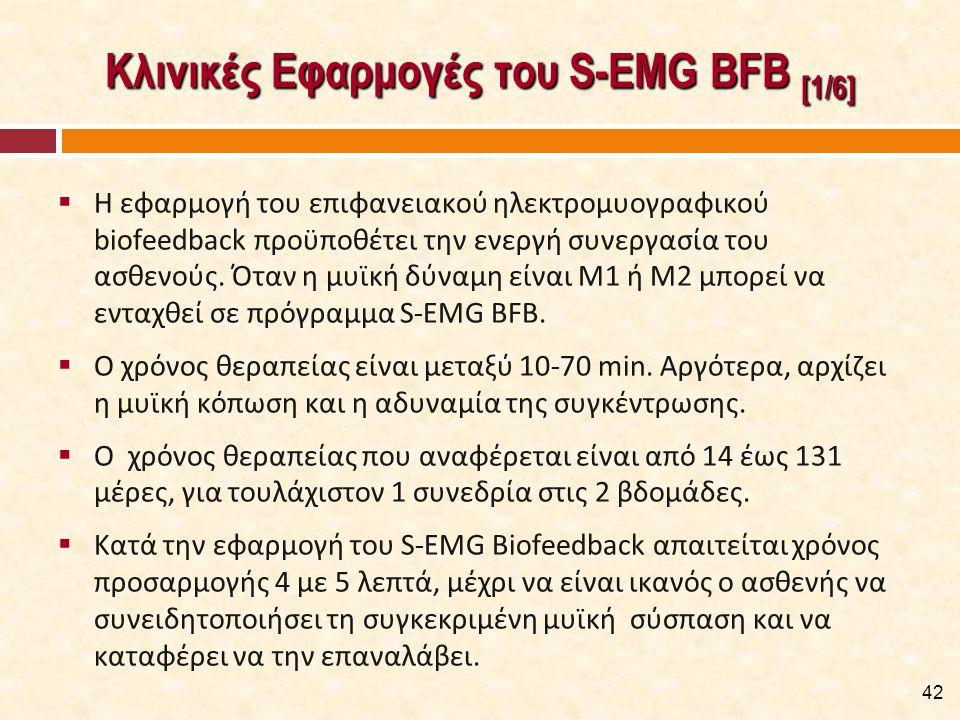 Κλινικές Εφαρμογές του S-EMG BFB [1/6]  Η εφαρμογή του επιφανειακού ηλεκτρομυογραφικού biofeedback προϋποθέτει την ενεργή συνεργασία του ασθενούς. Ότ