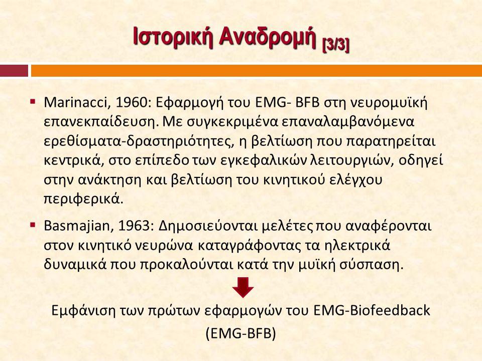 Ιστορική Αναδρομή [3/3]  Marinacci, 1960: Εφαρμογή του EMG- BFB στη νευρομυϊκή επανεκπαίδευση. Με συγκεκριμένα επαναλαμβανόμενα ερεθίσματα-δραστηριότ