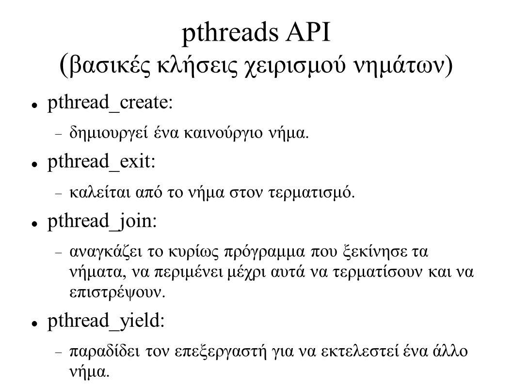 pthreads ΑPI ( βασικές κλήσεις χειρισμού νημάτων) pthread_create:  δημιουργεί ένα καινούργιο νήμα. pthread_exit:  καλείται από το νήμα στον τερματι