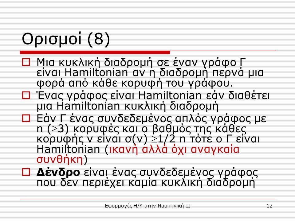 Εφαρμογές Η/Υ στην Ναυπηγική ΙΙ12 Ορισμοί (8)  Μια κυκλική διαδρομή σε έναν γράφο Γ είναι Hamiltonian αν η διαδρομή περνά μια φορά από κάθε κορυφή του γράφου.