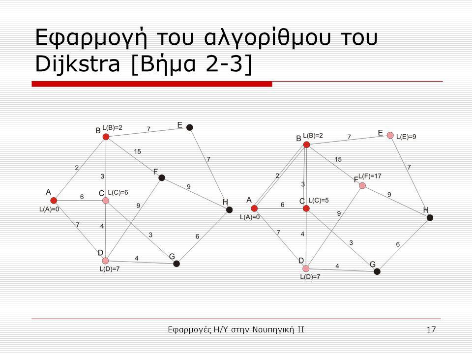 Εφαρμογές Η/Υ στην Ναυπηγική ΙΙ17 Εφαρμογή του αλγορίθμου του Dijkstra [Bήμα 2-3]