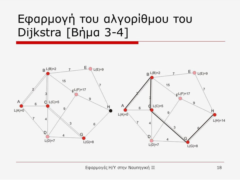 Εφαρμογές Η/Υ στην Ναυπηγική ΙΙ18 Εφαρμογή του αλγορίθμου του Dijkstra [Bήμα 3-4]