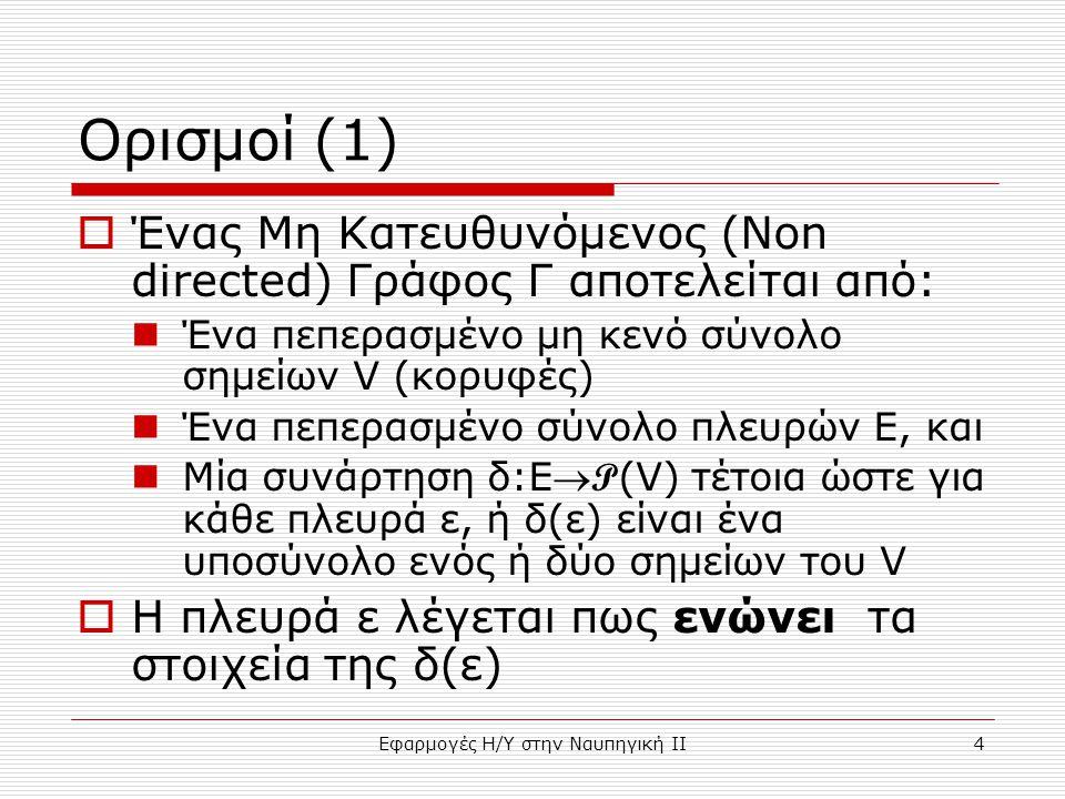 Εφαρμογές Η/Υ στην Ναυπηγική ΙΙ4 Ορισμοί (1)  Ένας Μη Κατευθυνόμενος (Non directed) Γράφος Γ αποτελείται από: Ένα πεπερασμένο μη κενό σύνολο σημείων V (κορυφές) Ένα πεπερασμένο σύνολο πλευρών Ε, και Μία συνάρτηση δ:E P (V) τέτοια ώστε για κάθε πλευρά ε, ή δ(ε) είναι ένα υποσύνολο ενός ή δύο σημείων του V  Η πλευρά ε λέγεται πως ενώνει τα στοιχεία της δ(ε)