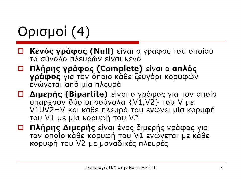 Εφαρμογές Η/Υ στην Ναυπηγική ΙΙ7 Ορισμοί (4)  Κενός γράφος (Null) είναι ο γράφος του οποίου το σύνολο πλευρών είναι κενό  Πλήρης γράφος (Complete) είναι ο απλός γράφος για τον όποιο κάθε ζευγάρι κορυφών ενώνεται από μία πλευρά  Διμερής (Bipartite) είναι ο γράφος για τον οποίο υπάρχουν δύο υποσύνολα {V1,V2} του V με V1UV2=V και κάθε πλευρά του ενώνει μία κορυφή του V1 με μία κορυφή του V2  Πλήρης Διμερής είναι ένας διμερής γράφος για τον οποίο κάθε κορυφή του V1 ενώνεται με κάθε κορυφή του V2 με μοναδικές πλευρές