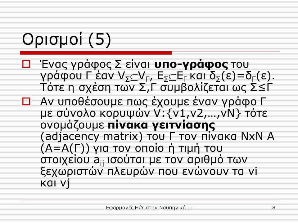 Εφαρμογές Η/Υ στην Ναυπηγική ΙΙ8 Ορισμοί (5)  Ένας γράφος Σ είναι υπο-γράφος του γράφου Γ έαν V Σ V Γ, Ε Σ Ε Γ και δ Σ (ε)=δ Γ (ε).