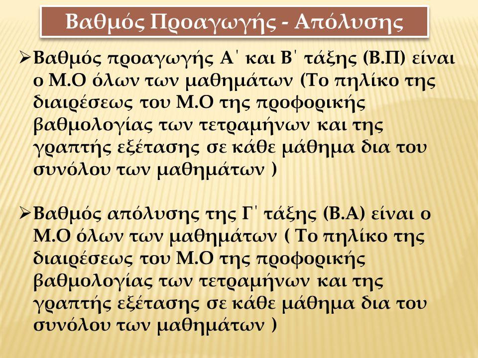 Βαθμός Προαγωγής - Απόλυσης  Βαθμός προαγωγής Α΄ και Β΄ τάξης (Β.Π) είναι ο Μ.Ο όλων των μαθημάτων (Το πηλίκο της διαιρέσεως του Μ.Ο της προφορικής β