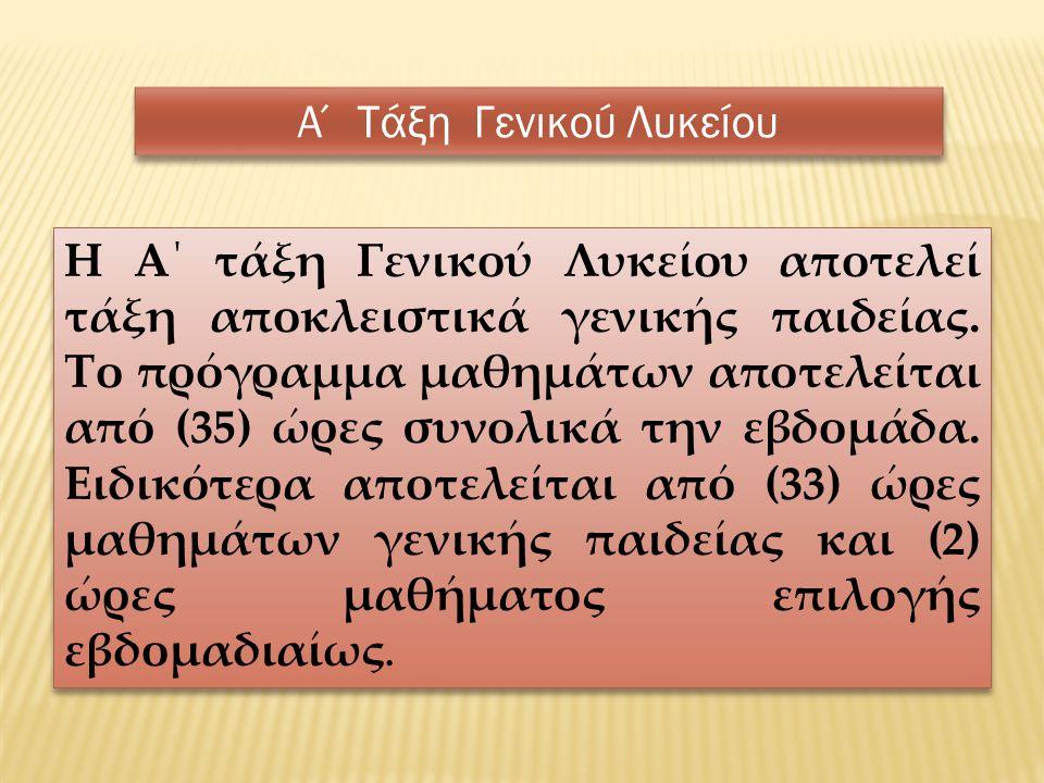 ΜΑΘΗΜΑ ΩΡΕΣ Ελληνική Γλώσσα Αρχαία Ελληνική Γλώσσα και Γραμματεία5 Νέα Ελληνική Γλώσσα2 Λογοτεχνία2 Μαθηματικά Άλγεβρα3 Γεωμετρία2 Φυσικές Επιστήμες Φυσική2 Χημεία2 Βιολογία2 Ιστορία 2 Πολιτική Παιδεία (Οικονομία, Πολιτικοί Θεσμοί και Αρχές Δικαίου και Κοινωνιολογία) 3 Θρησκευτικά 2 Ερευνητική Εργασία (συνθετική εργασία/project)* 2 Ξένη Γλώσσα (Αγγλικά ήΓαλλικά ή Γερμανικά) 2 Φυσική Αγωγή* 2 ΕΝΑ (1)ΜΑΘΗΜΑ ΕΠΙΛΟΓΗΣ Εφαρμογές Πληροφορικής 2 Γεωλογία και Διαχείριση Φυσικών Πόρων 2 Ελληνικός Ευρωπαϊκός Πολιτισμός 2 Καλλιτεχνική Παιδεία 2 *Δεν εξετάζονται γραπτά 35
