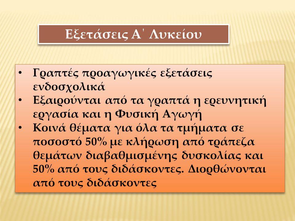 Προαγωγή – Απόλυση από Α΄.Λυκείου 1.Γ.Μ.Ο.