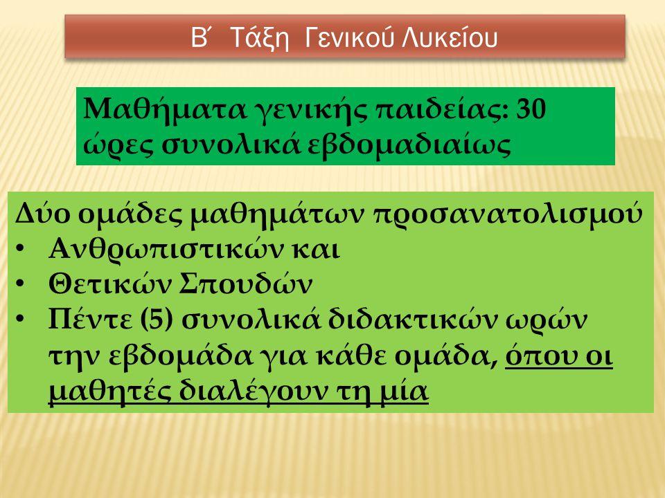 Μαθήματα Γενικής Παιδείας ΜΑΘΗΜΑΤΑ ΓΕΝΙΚΗΣ ΠΑΙΔΕΙΑΣ ΩΡΕΣ Ελληνική Γλώσσα Αρχαία Ελληνική Γλώσσα και Γραμματεία2 Νέα Ελληνική Γλώσσα2 Λογοτεχνία 2 Μαθηματικά Άλγεβρα3 Γεωμετρία2 Φυσικές Επιστήμες Φυσική2 Χημεία2 Βιολογία2 Εισαγωγή στις Αρχές της Επιστήμης των Η/Υ 1 Ιστορία 2 Φιλοσοφία 2 Πολιτική Παιδεία (Οικονομία, Πολιτικοί Θεσμοί και Αρχές Δικαίου και Κοινωνιολογία) 2 Θρησκευτικά 2 Ερευνητική Εργασία (συνθετική εργασία/project)* 1 Ξένη Γλώσσα (Αγγλικά ήΓαλλικά ή Γερμανικά) 2 Φυσική Αγωγή* 1 Σύνολο 30 *Δεν εξετάζονται γραπτά