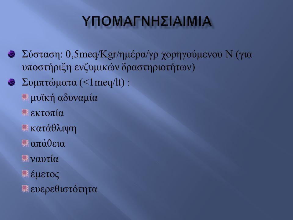 Σύσταση : 0,5meq/Kgr/ ημέρα / γρ χορηγούμενου Ν ( για υποστήριξη ενζυμικών δραστηριοτήτων ) Συμπτώματα (<1meq/lt) : μυϊκή αδυναμία εκτοπία κατάθλιψη α