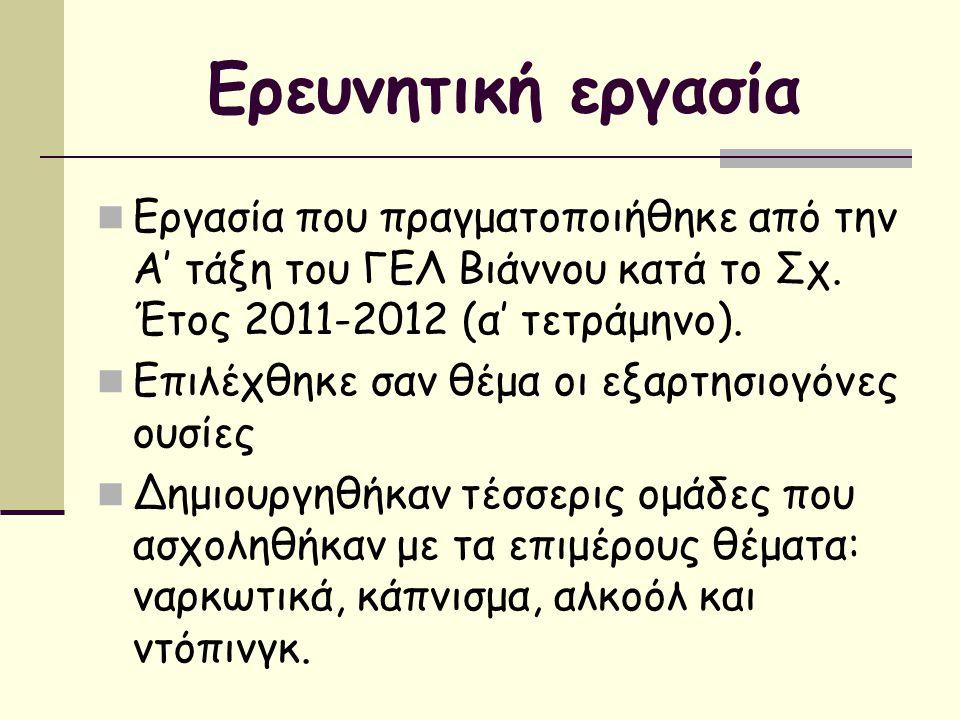 Ερευνητική εργασία Εργασία που πραγματοποιήθηκε από την Α' τάξη του ΓΕΛ Βιάννου κατά το Σχ. Έτος 2011-2012 (α' τετράμηνο). Επιλέχθηκε σαν θέμα οι εξαρ