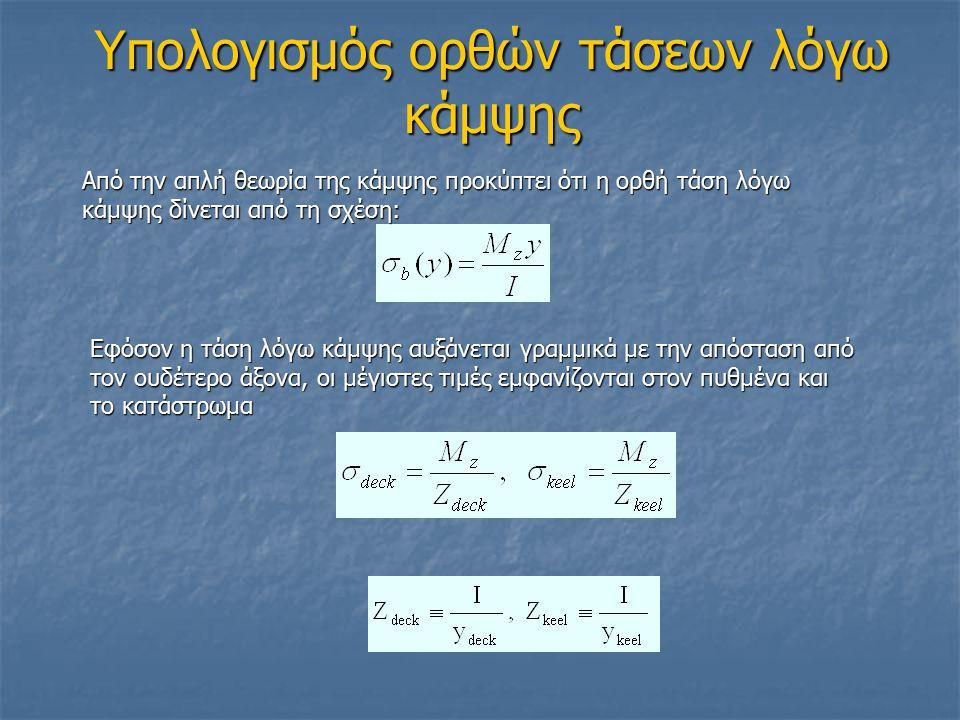 Υπολογισμός ορθών τάσεων λόγω κάμψης Από την απλή θεωρία της κάμψης προκύπτει ότι η ορθή τάση λόγω κάμψης δίνεται από τη σχέση: Εφόσον η τάση λόγω κάμψης αυξάνεται γραμμικά με την απόσταση από τον ουδέτερο άξονα, οι μέγιστες τιμές εμφανίζονται στον πυθμένα και το κατάστρωμα