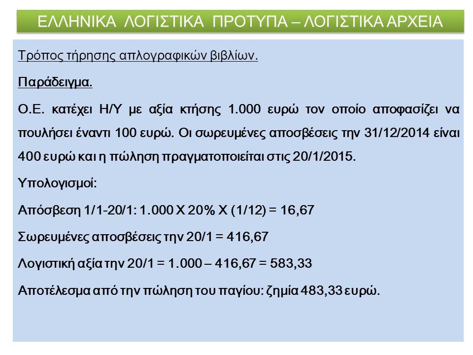 ΕΛΛΗΝΙΚΑ ΛΟΓΙΣΤΙΚΑ ΠΡΟΤΥΠΑ – ΛΟΓΙΣΤΙΚΑ ΑΡΧΕΙΑ Τρόπος τήρησης απλογραφικών βιβλίων. Παράδειγμα. Ο.Ε. κατέχει Η/Υ με αξία κτήσης 1.000 ευρώ τον οποίο απ