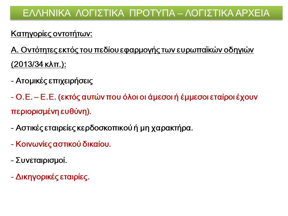 ΕΛΛΗΝΙΚΑ ΛΟΓΙΣΤΙΚΑ ΠΡΟΤΥΠΑ – ΛΟΓΙΣΤΙΚΑ ΑΡΧΕΙΑ Κατηγορίες οντοτήτων: Α. Οντότητες εκτός του πεδίου εφαρμογής των ευρωπαϊκών οδηγιών (2013/34 κλπ.): - Α