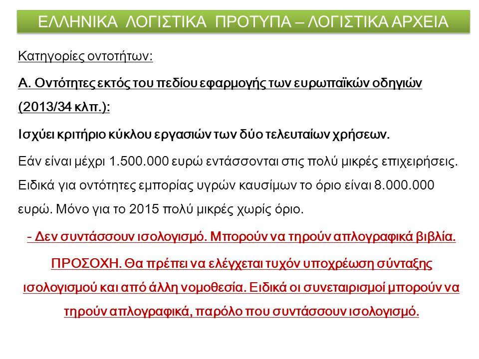 ΕΛΛΗΝΙΚΑ ΛΟΓΙΣΤΙΚΑ ΠΡΟΤΥΠΑ – ΛΟΓΙΣΤΙΚΑ ΑΡΧΕΙΑ Κατηγορίες οντοτήτων: Α. Οντότητες εκτός του πεδίου εφαρμογής των ευρωπαϊκών οδηγιών (2013/34 κλπ.): Ισχ