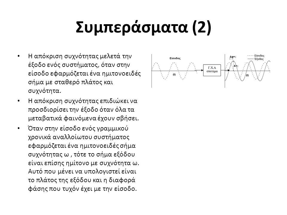 Συμπεράσματα (2) Η απόκριση συχνότητας μελετά την έξοδο ενός συστήματος, όταν στην είσοδο εφαρμόζεται ένα ημιτονοειδές σήμα με σταθερό πλάτος και συχν
