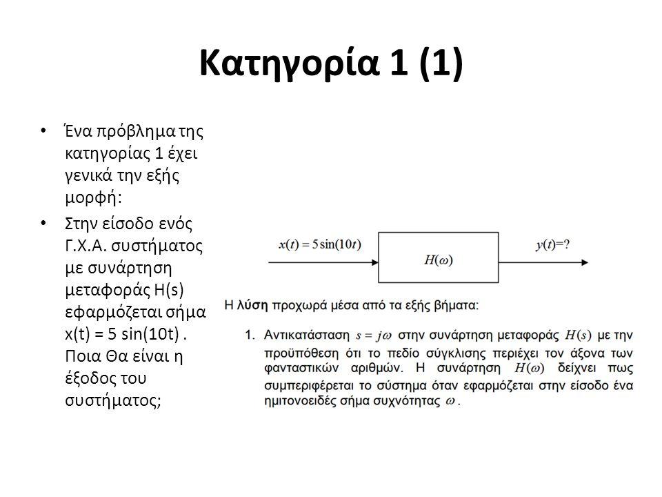 Κατηγορία 1 (1) Ένα πρόβλημα της κατηγορίας 1 έχει γενικά την εξής μορφή: Στην είσοδο ενός Γ.Χ.Α. συστήματος με συνάρτηση μεταφοράς Η(s) εφαρμόζεται σ
