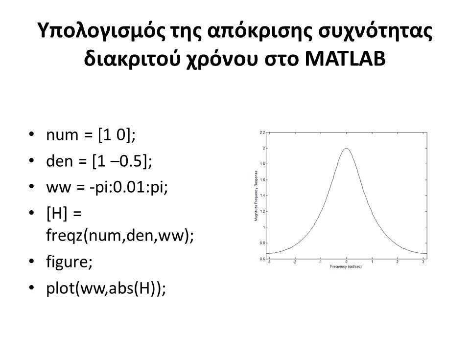 Υπολογισμός της απόκρισης συχνότητας διακριτού χρόνου στο MATLAB num = [1 0]; den = [1 –0.5]; ww = -pi:0.01:pi; [H] = freqz(num,den,ww); figure; plot(