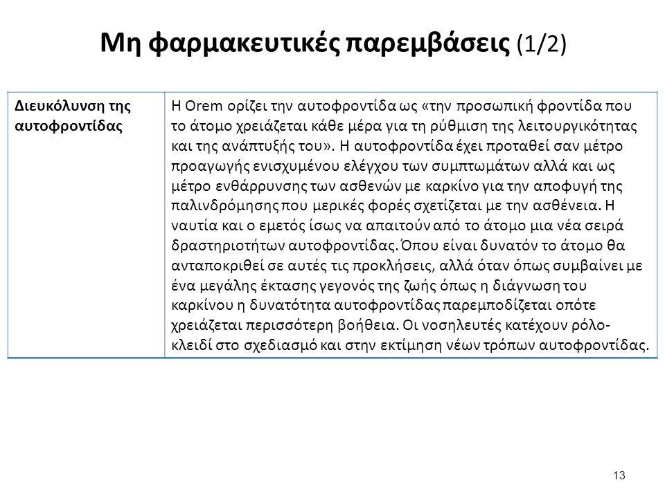 Μη φαρμακευτικές παρεμβάσεις (1/2) 13 Διευκόλυνση της αυτοφροντίδας Η Orem ορίζει την αυτοφροντίδα ως «την προσωπική φροντίδα που το άτομο χρειάζεται