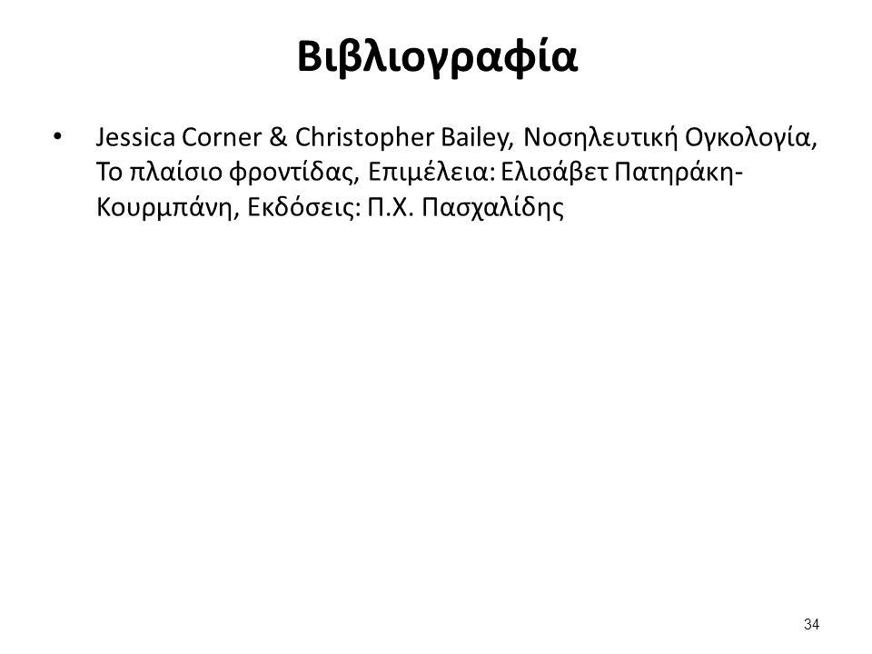 Βιβλιογραφία Jessica Corner & Christopher Bailey, Νοσηλευτική Ογκολογία, Το πλαίσιο φροντίδας, Επιμέλεια: Ελισάβετ Πατηράκη- Κουρμπάνη, Εκδόσεις: Π.Χ.