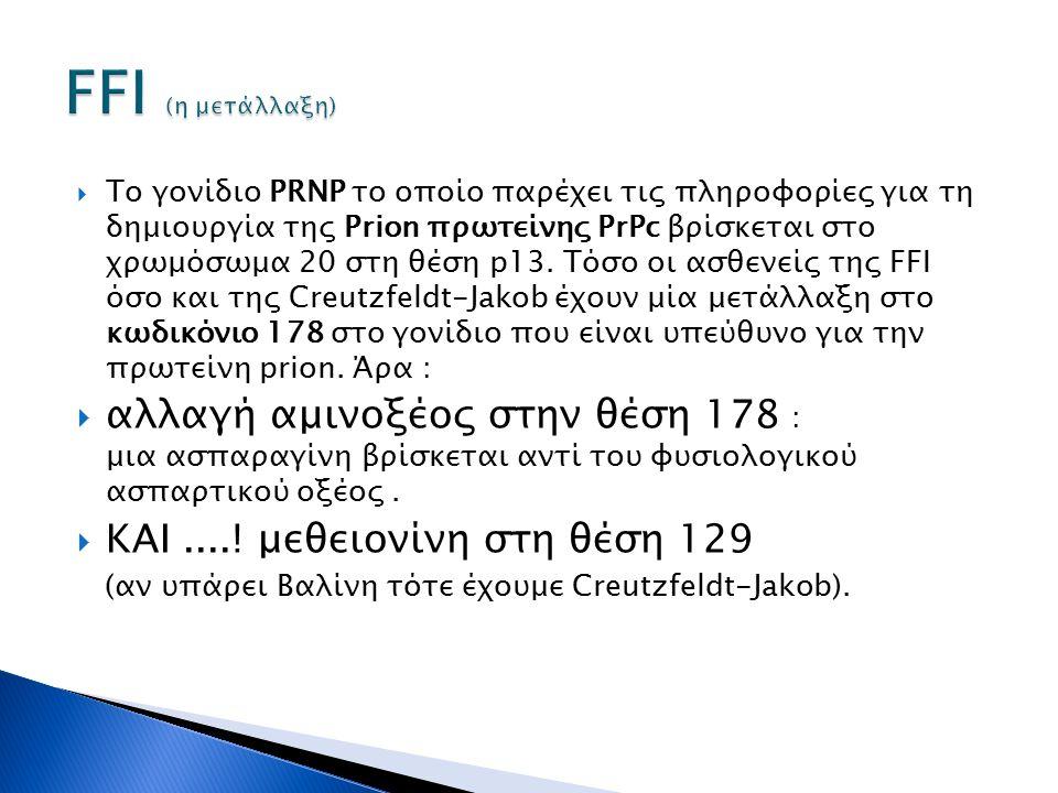  To γονίδιο PRNP το οποίο παρέχει τις πληροφορίες για τη δημιουργία της Prion πρωτείνης PrPc βρίσκεται στο χρωμόσωμα 20 στη θέση p13. Τόσο οι ασθενεί