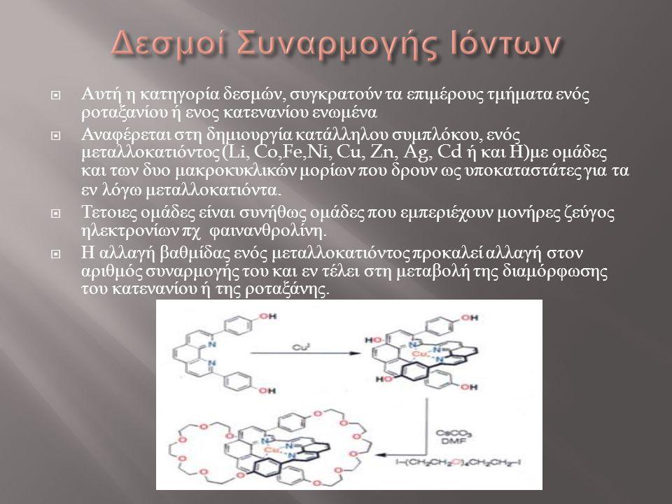  Αυτή η κατηγορία δεσμών, συγκρατούν τα επιμέρους τμήματα ενός ροταξανίου ή ενος κατενανίου ενωμένα  Αναφέρεται στη δημιουργία κατάλληλου συμπλόκου,