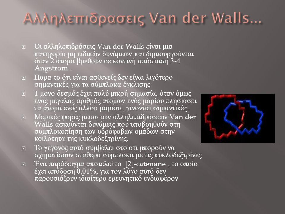  Οι αλληλεπιδράσεις Van der Walls είναι μια κατηγορία μη ειδικών δυνάμεων και δημιουργούνται όταν 2 άτομα βρεθούν σε κοντινή απόσταση 3-4 Angstrom. 