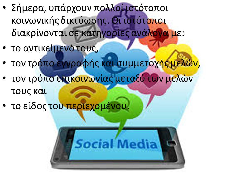 Σήμερα, υπάρχουν πολλοί ιστότοποι κοινωνικής δικτύωσης. Οι ιστότοποι διακρίνονται σε κατηγορίες ανάλογα με: το αντικείμενό τους, τον τρόπο εγγραφής κα