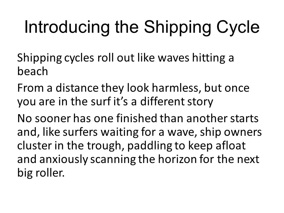 Introducing the Shipping Cycle Shipping cycles roll out like waves hitting a beach From a distance they look harmless, but once you are in the surf it