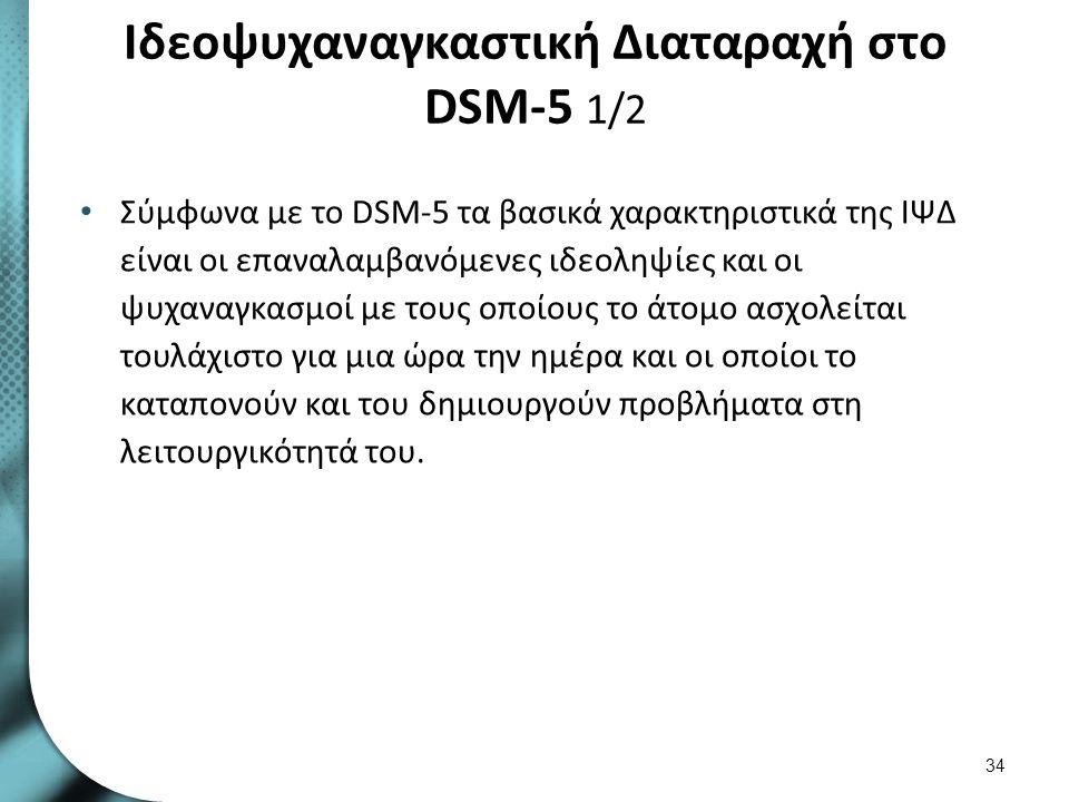 Ιδεοψυχαναγκαστική Διαταραχή στο DSM-5 1/2 Σύμφωνα με το DSM-5 τα βασικά χαρακτηριστικά της ΙΨΔ είναι οι επαναλαμβανόμενες ιδεοληψίες και οι ψυχαναγκα