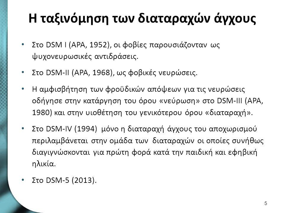 Η ταξινόμηση των διαταραχών άγχους Στο DSM Ι (APA, 1952), οι φοβίες παρουσιάζονταν ως ψυχονευρωσικές αντιδράσεις. Στο DSM-II (APA, 1968), ως φοβικές ν