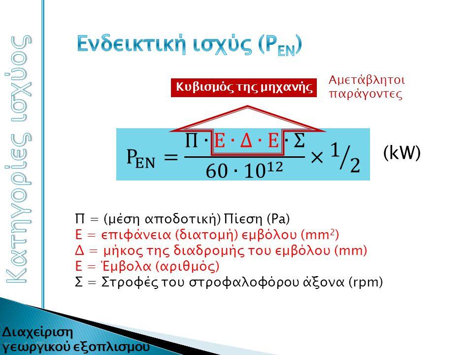 (kW) Π = (μέση αποδοτική) Πίεση (Pa) Ε = επιφάνεια (διατομή) εμβόλου (mm 2 ) Δ = μήκος της διαδρομής του εμβόλου (mm) Ε = Έμβολα (αριθμός) Σ = Στροφές