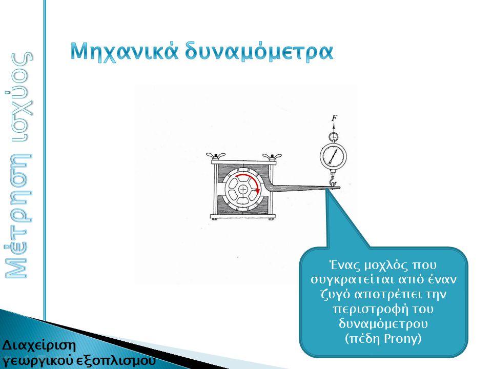 Ένας μοχλός που συγκρατείται από έναν ζυγό αποτρέπει την περιστροφή του δυναμόμετρου (πέδη Prony)