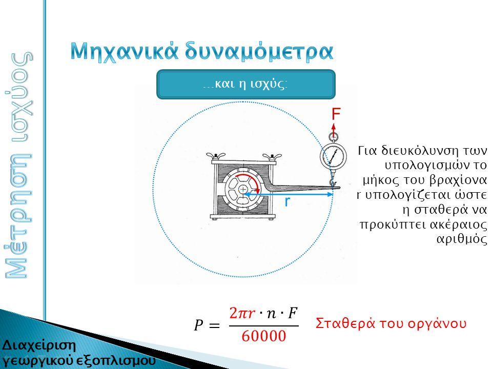 Σταθερά του οργάνου Για διευκόλυνση των υπολογισμών το μήκος του βραχίονα r υπολογίζεται ώστε η σταθερά να προκύπτει ακέραιος αριθμός …και η ισχύς:
