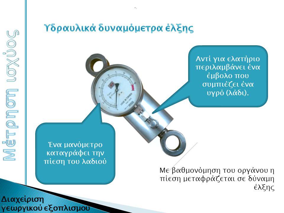 Με βαθμονόμηση του οργάνου η πίεση μεταφράζεται σε δύναμη έλξης Αντί για ελατήριο περιλαμβάνει ένα έμβολο που συμπιέζει ένα υγρό (λάδι). Ένα μανόμετρο