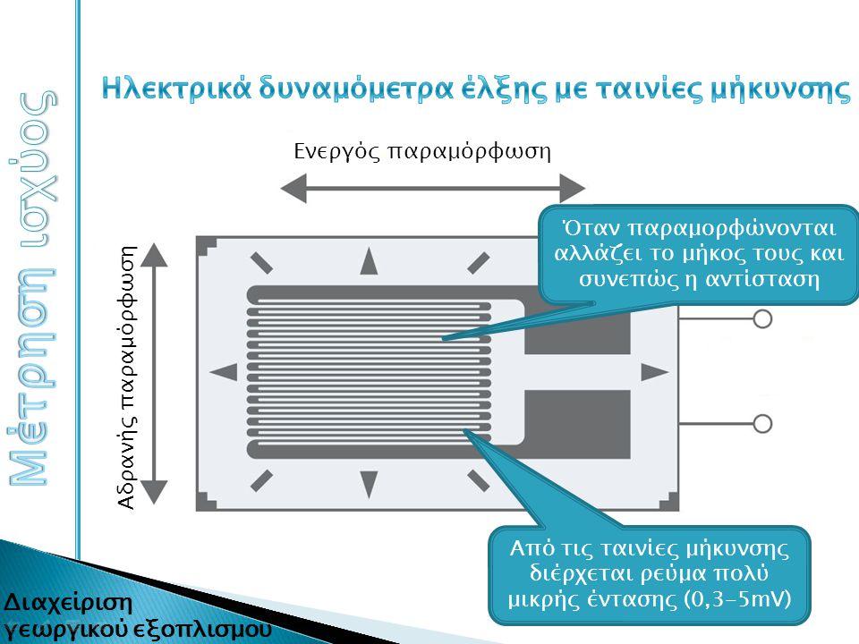 Από τις ταινίες μήκυνσης διέρχεται ρεύμα πολύ μικρής έντασης (0,3-5mV) Όταν παραμορφώνονται αλλάζει το μήκος τους και συνεπώς η αντίσταση Ενεργός παρα