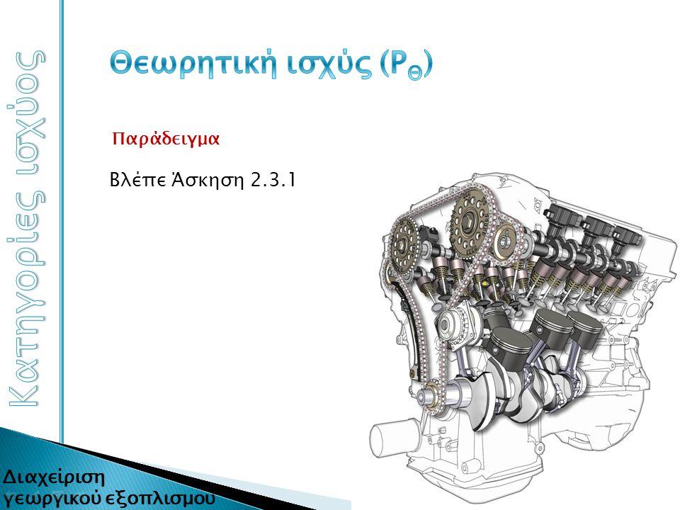Είναι η αναπτυσσόμενη στο έμβολο ισχύς που αντιστοιχεί στο πραγματικό διάγραμμα p-v Θεωρητική απόδοση Diesel κινητήρων 61,4% Πραγματική απόδοση Diesel κινητήρων 25-39%