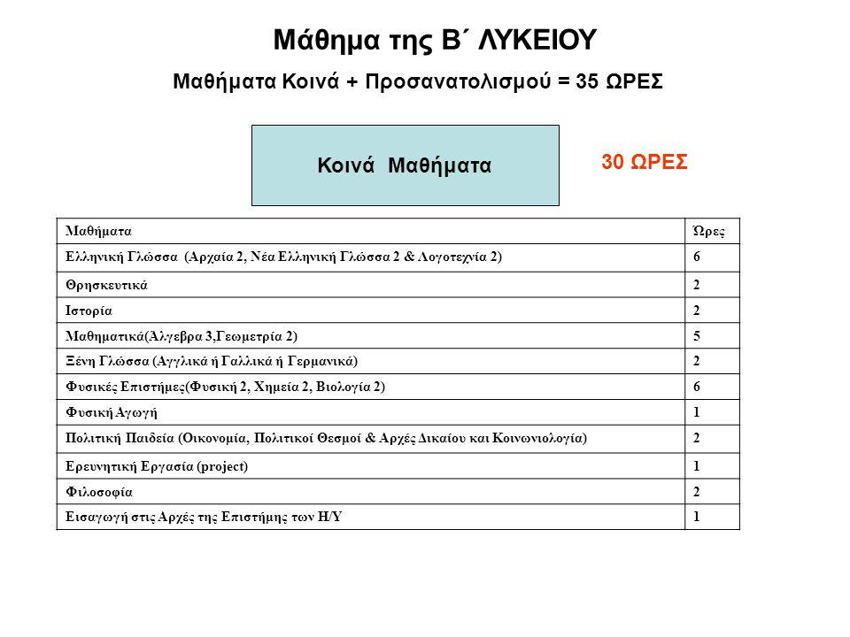 Μάθημα της Β΄ ΛΥΚΕΙΟΥ Κοινά Μαθήματα 30 ΩΡΕΣ Μαθήματα Κοινά + Προσανατολισμού = 35 ΩΡΕΣ ΜαθήματαΏρες Ελληνική Γλώσσα (Αρχαία 2, Νέα Ελληνική Γλώσσα 2