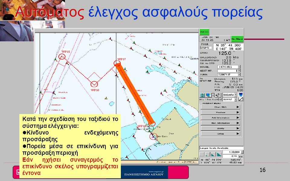  i4M Lab 15 Γραμμή ορίου ασφαλείας 20μ. Πλοίο Συναγερμός Ασφαλής ναυσιπλοΐα με χρήση συναγερμού διασταύρωσης (Crossing)του ECDIS Γραμμή ορίου ασφαλεί