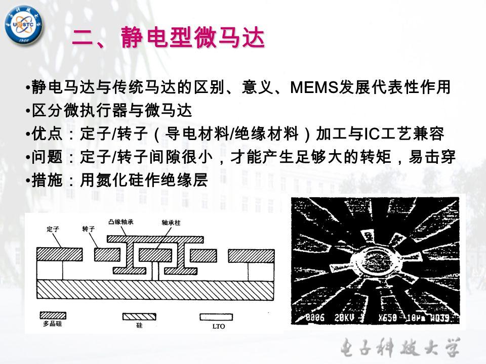 二、静电型微马达 静电马达与传统马达的区别、意义、 MEMS 发展代表性作用 区分微执行器与微马达 优点:定子 / 转子(导电材料 / 绝缘材料)加工与 IC 工艺兼容 问题:定子 / 转子间隙很小,才能产生足够大的转矩,易击穿 措施:用氮化硅作绝缘层