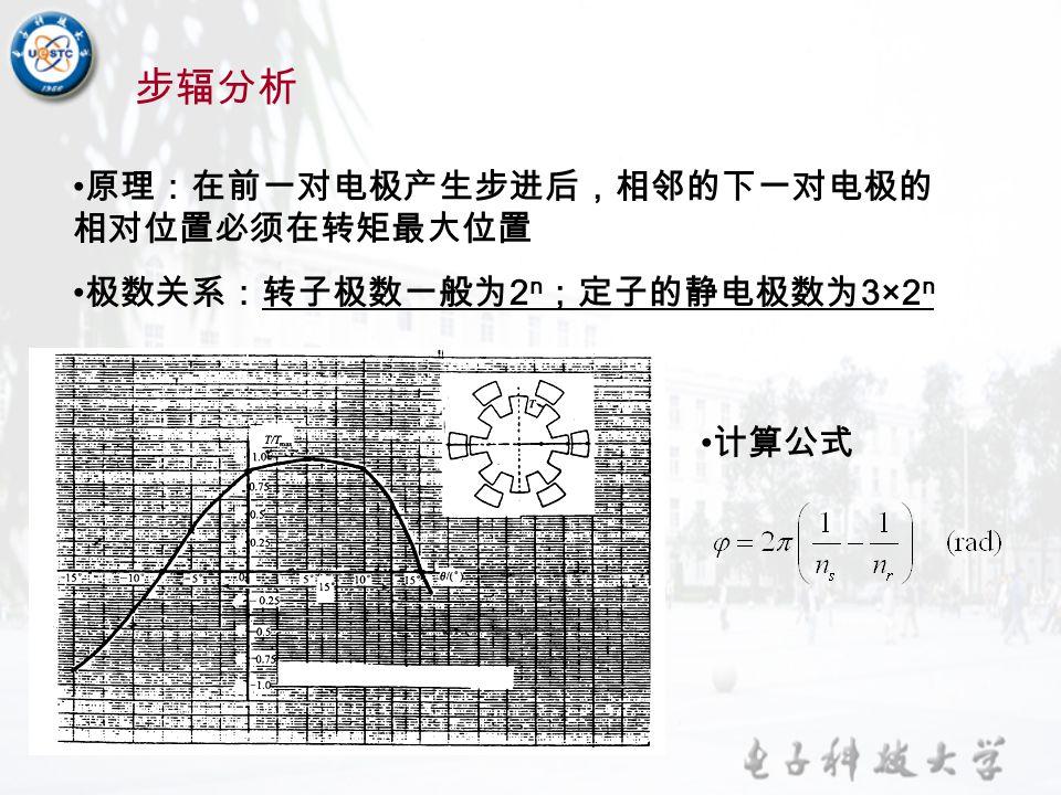 步辐分析 原理:在前一对电极产生步进后,相邻的下一对电极的 相对位置必须在转矩最大位置 极数关系:转子极数一般为 2 n ;定子的静电极数为 3×2 n 计算公式