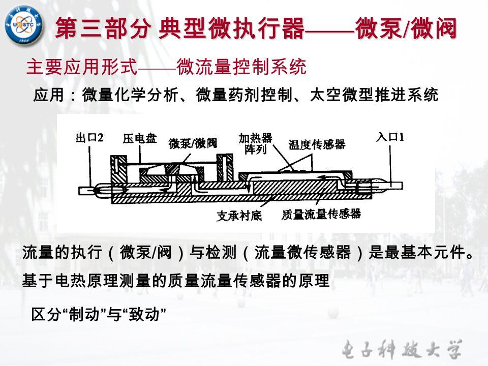 """第三部分 典型微执行器 —— 微泵 / 微阀 主要应用形式 —— 微流量控制系统 应用:微量化学分析、微量药剂控制、太空微型推进系统 基于电热原理测量的质量流量传感器的原理 区分 """" 制动 """" 与 """" 致动 """" 流量的执行(微泵 / 阀)与检测(流量微传感器)是最基本元件。"""