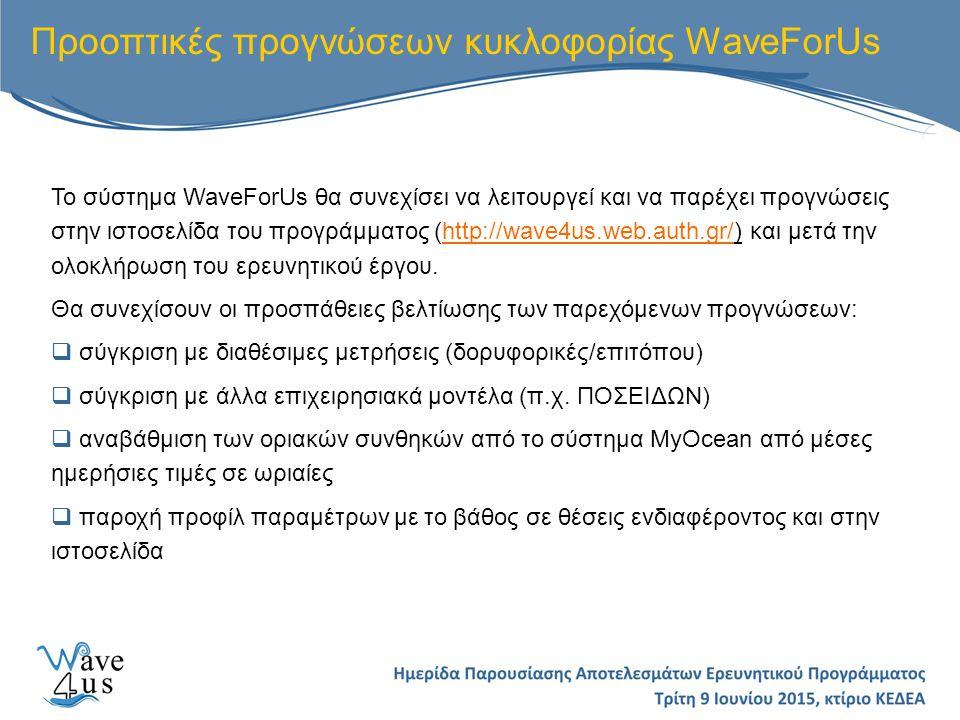 Προοπτικές προγνώσεων κυκλοφορίας WaveForUs Το σύστημα WaveForUs θα συνεχίσει να λειτουργεί και να παρέχει προγνώσεις στην ιστοσελίδα του προγράμματος (http://wave4us.web.auth.gr/) και μετά την ολοκλήρωση του ερευνητικού έργου.