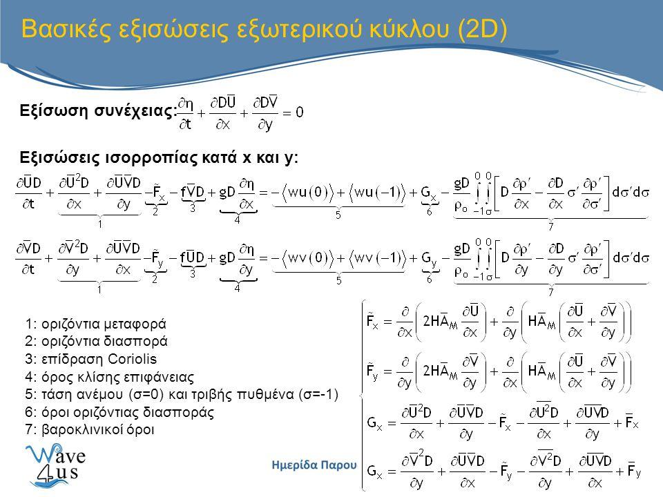 Βασικές εξισώσεις εξωτερικού κύκλου (2D) 1: οριζόντια μεταφορά 2: οριζόντια διασπορά 3: επίδραση Coriolis 4: όρος κλίσης επιφάνειας 5: τάση ανέμου (σ=0) και τριβής πυθμένα (σ=-1) 6: όροι οριζόντιας διασποράς 7: βαροκλινικοί όροι Εξίσωση συνέχειας: Εξισώσεις ισορροπίας κατά x και y: