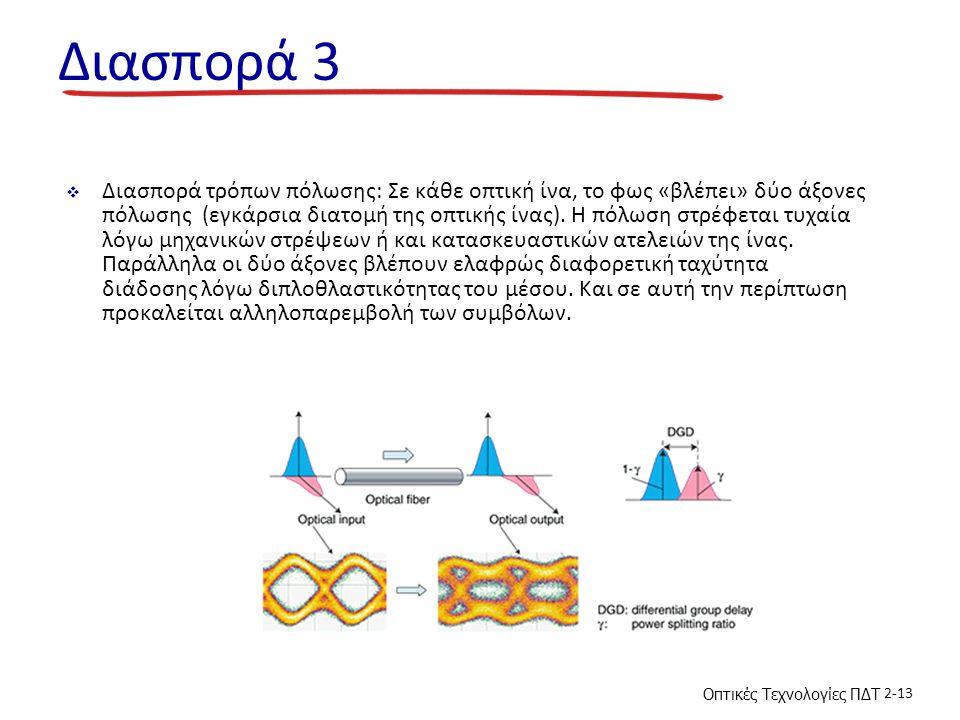 Οπτικές Τεχνολογίες ΠΔΤ 2-13 Διασπορά 3  Διασπορά τρόπων πόλωσης: Σε κάθε οπτική ίνα, το φως «βλέπει» δύο άξονες πόλωσης (εγκάρσια διατομή της οπτική