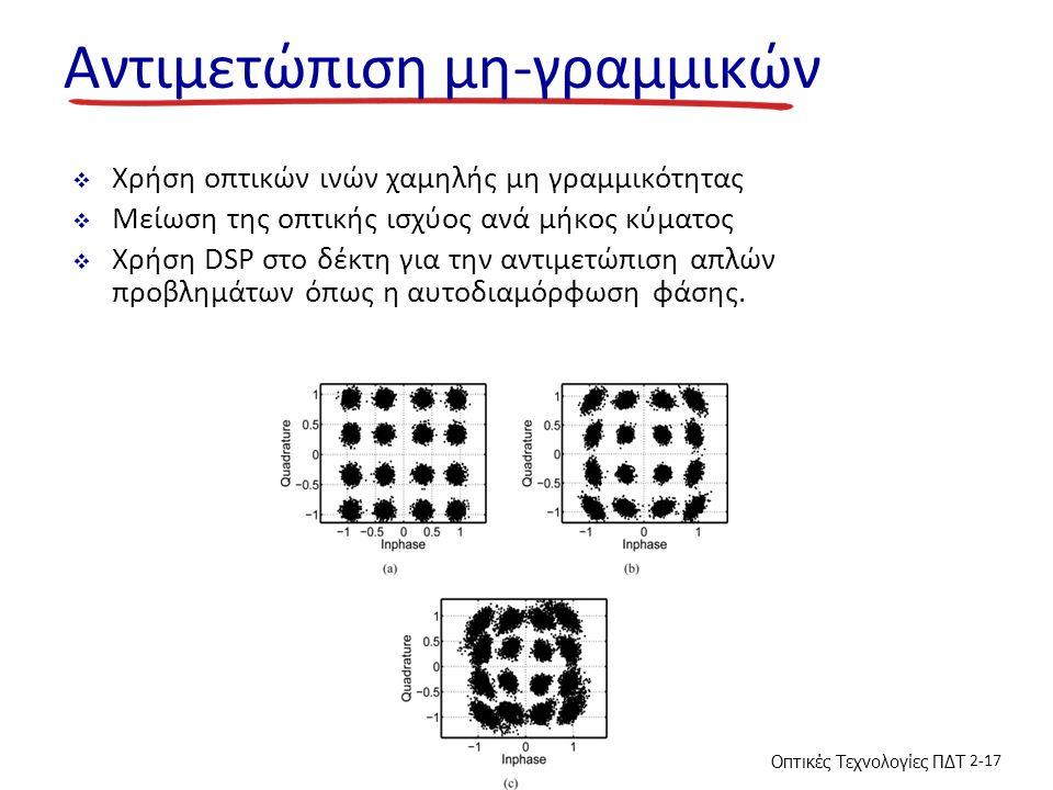 Οπτικές Τεχνολογίες ΠΔΤ 2-17 Αντιμετώπιση μη-γραμμικών  Χρήση οπτικών ινών χαμηλής μη γραμμικότητας  Μείωση της οπτικής ισχύος ανά μήκος κύματος  Χρήση DSP στο δέκτη για την αντιμετώπιση απλών προβλημάτων όπως η αυτοδιαμόρφωση φάσης.
