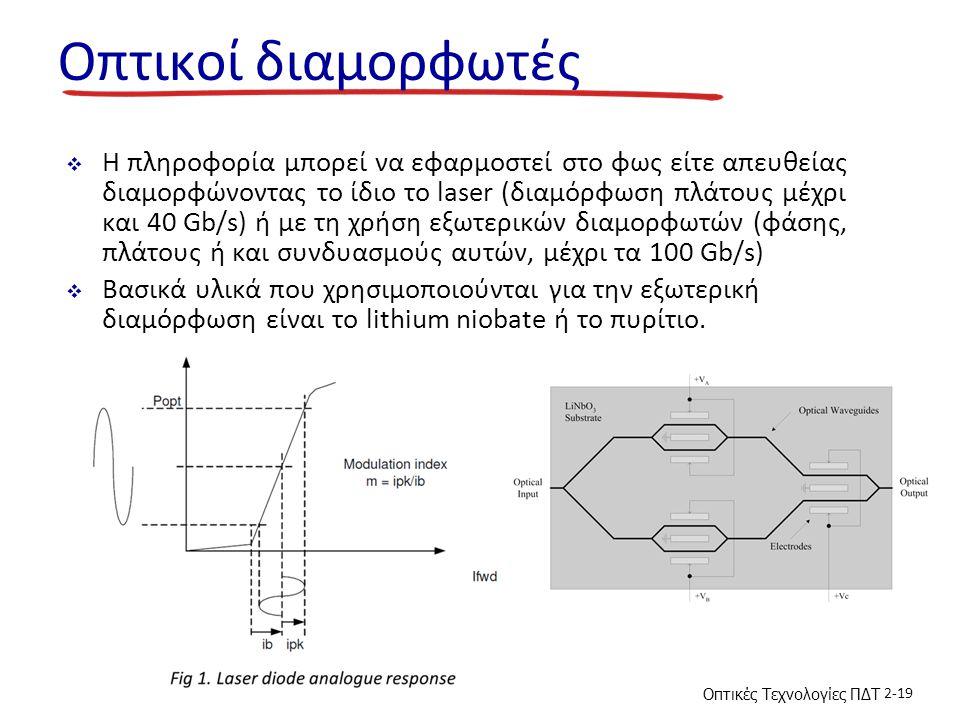 Οπτικές Τεχνολογίες ΠΔΤ 2-19 Οπτικοί διαμορφωτές  Η πληροφορία μπορεί να εφαρμοστεί στο φως είτε απευθείας διαμορφώνοντας το ίδιο το laser (διαμόρφωση πλάτους μέχρι και 40 Gb/s) ή με τη χρήση εξωτερικών διαμορφωτών (φάσης, πλάτους ή και συνδυασμούς αυτών, μέχρι τα 100 Gb/s)  Βασικά υλικά που χρησιμοποιούνται για την εξωτερική διαμόρφωση είναι το lithium niobate ή το πυρίτιο.