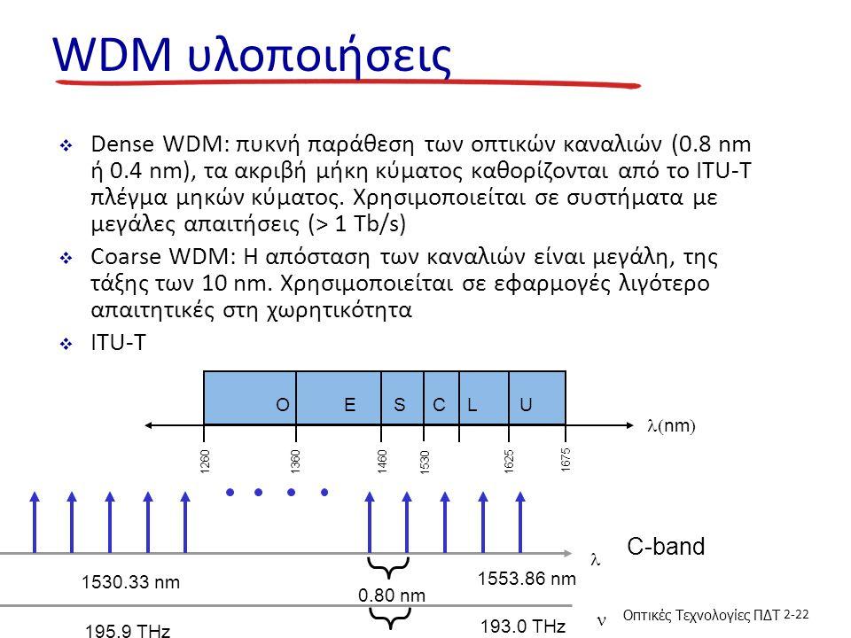 Οπτικές Τεχνολογίες ΠΔΤ 2-22 WDM υλοποιήσεις  Dense WDM: πυκνή παράθεση των οπτικών καναλιών (0.8 nm ή 0.4 nm), τα ακριβή μήκη κύματος καθορίζονται από το ITU-T πλέγμα μηκών κύματος.
