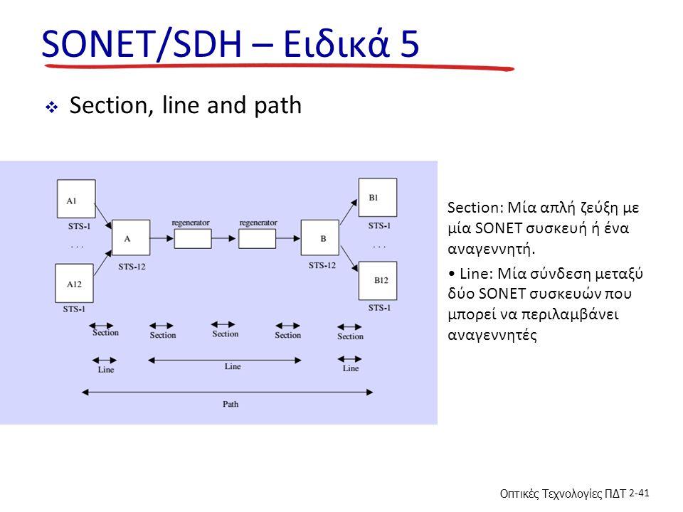 Οπτικές Τεχνολογίες ΠΔΤ 2-41 SONET/SDH – Ειδικά 5  Section, line and path Section: Μία απλή ζεύξη με μία SONET συσκευή ή ένα αναγεννητή. Line: Μία σύ
