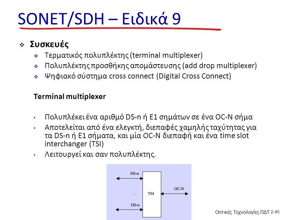 Οπτικές Τεχνολογίες ΠΔΤ 2-45 SONET/SDH – Ειδικά 9  Συσκευές  Τερματικός πολυπλέκτης (terminal multiplexer)  Πολυπλέκτης προσθήκης απομάστευσης (add drop multiplexer)  Ψηφιακό σύστημα cross connect (Digital Cross Connect) Terminal multiplexer Πολυπλέκει ένα αριθμό DS-n ή E1 σημάτων σε ένα OC-N σήμα Αποτελείται από ένα ελεγκτή, διεπαφές χαμηλής ταχύτητας για τα DS-n ή E1 σήματα, και μία OC-N διεπαφή και ένα time slot interchanger (TSI) Λειτουργεί και σαν πολυπλέκτης.